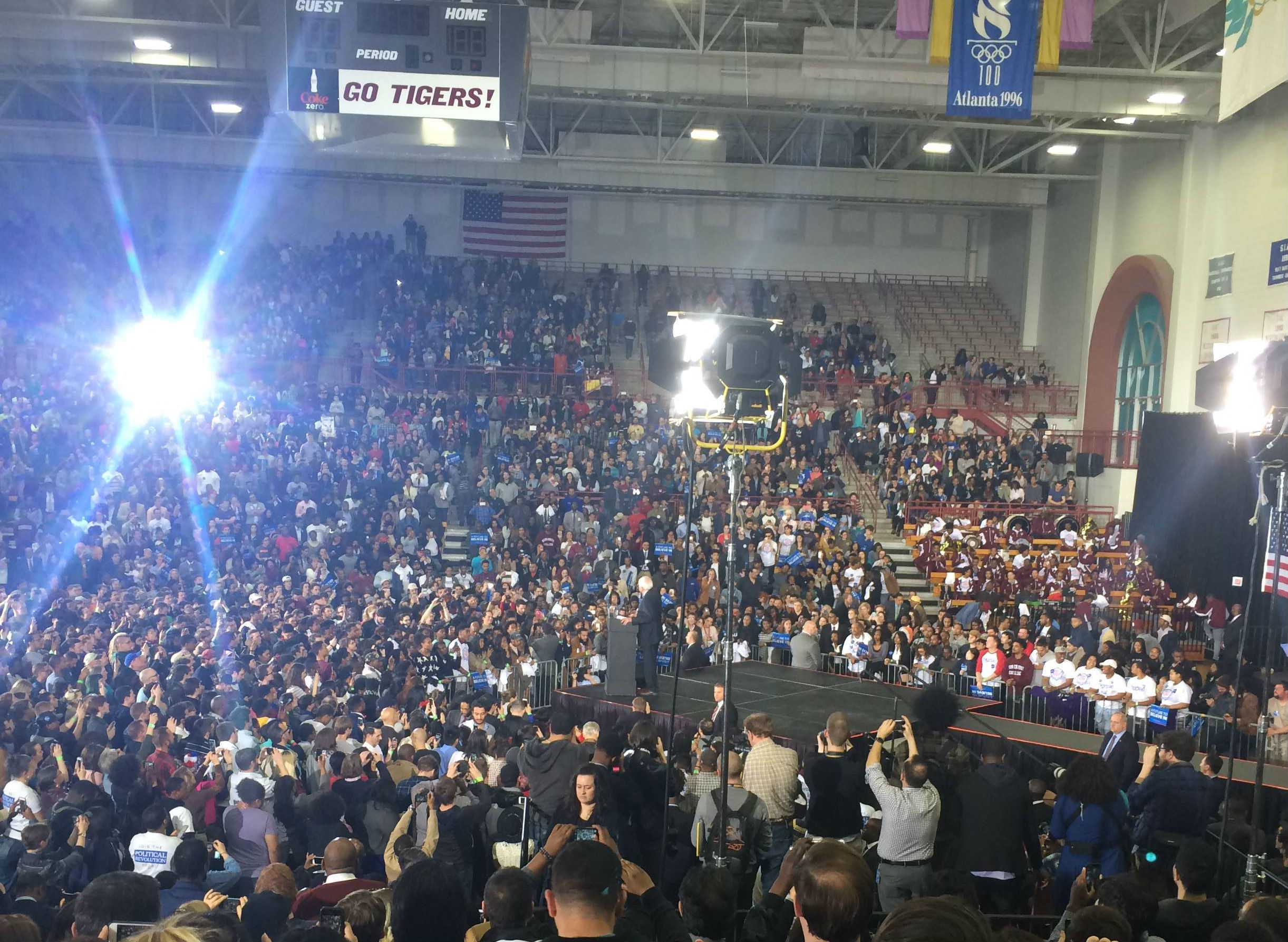 The view from a Bernie Sanders rally. Courtesy of Asia Mitchell