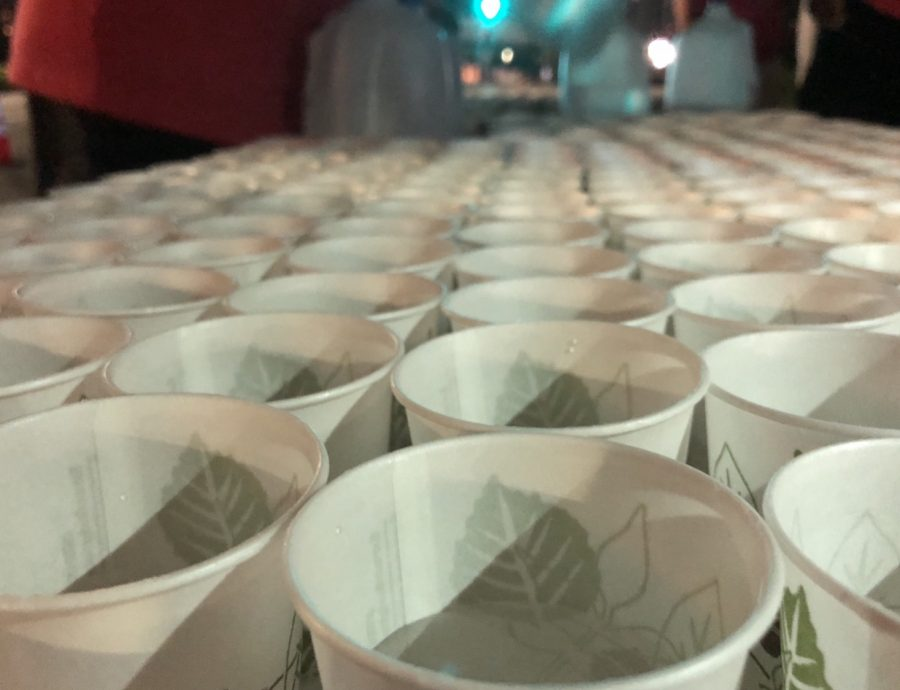 Water cups that Big Peach Sizzler volunteers handed out to runners early in the morning.