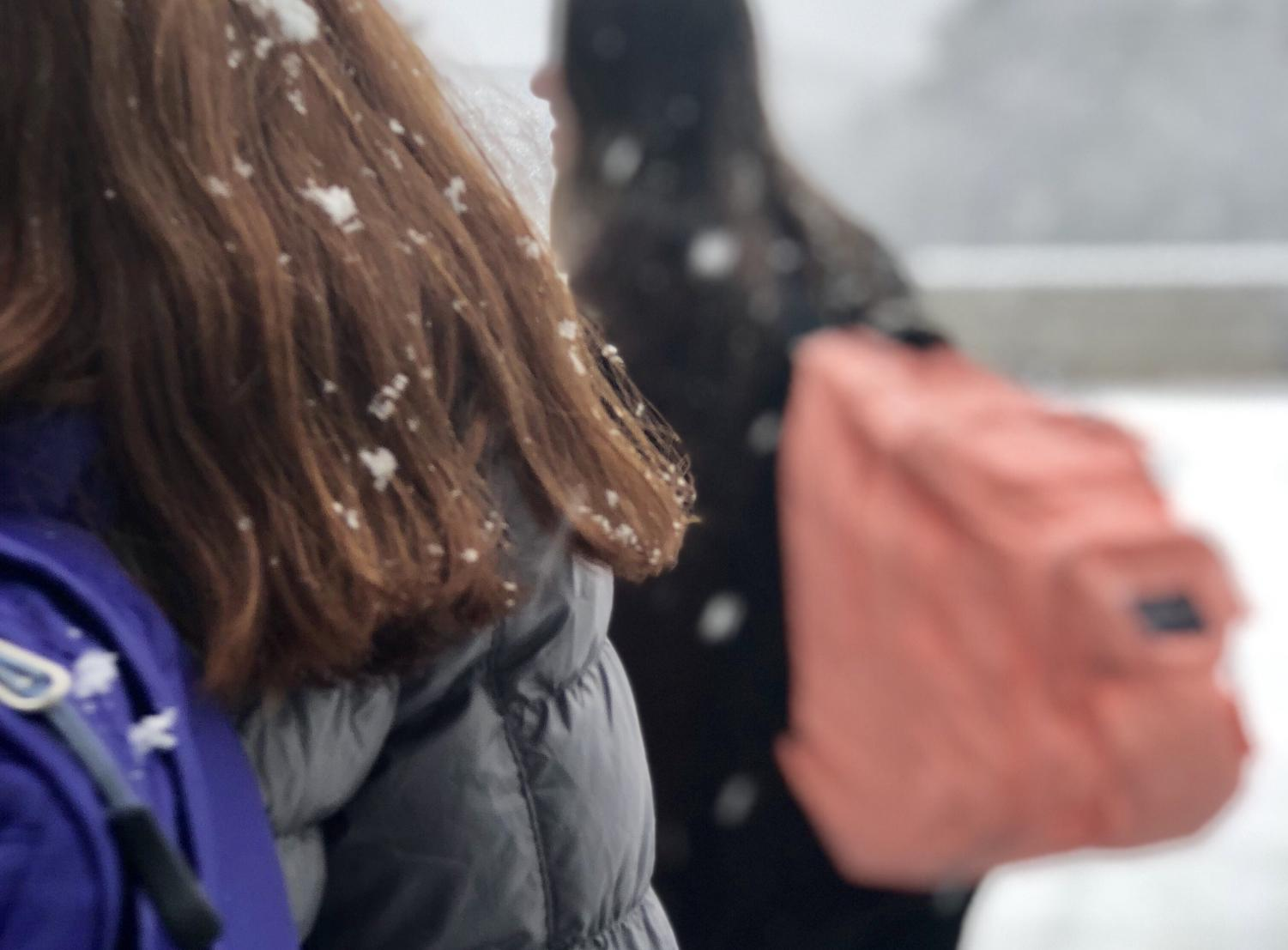 Students Nicole Arendt and Debbie Kitzler wear their backpacks when checking out the snow during class change.