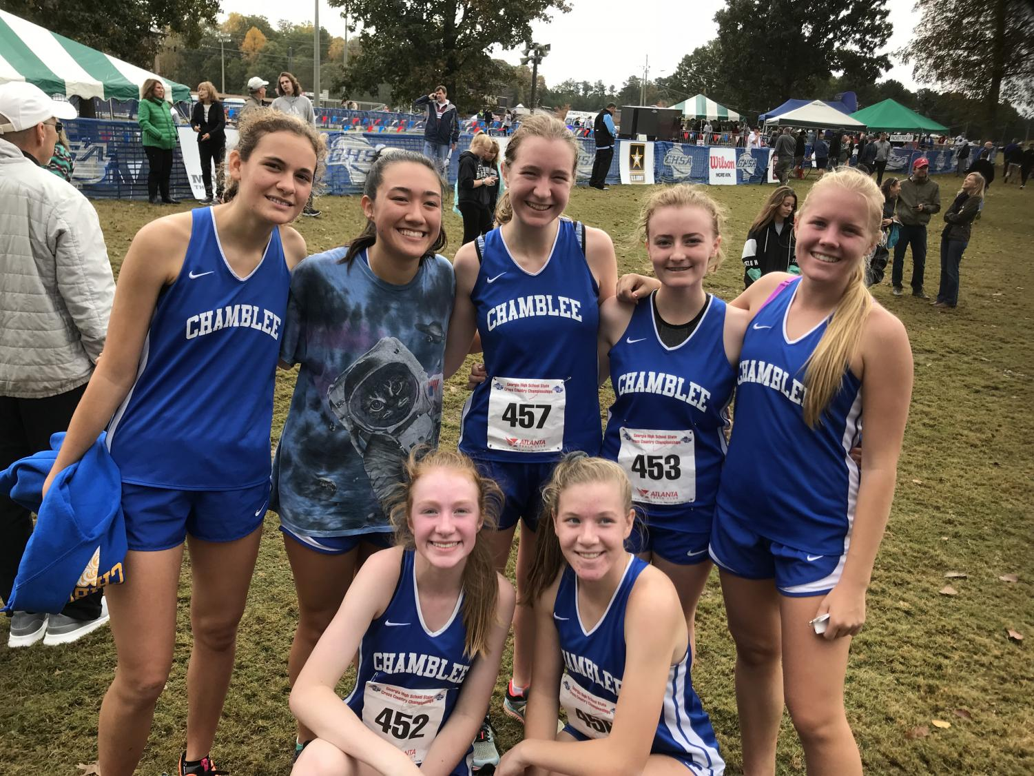 The girls' cross country team. Top row, from left to right: Laila Elmattrawy, Maddie Miller, Sarah Mackey, Hattie Carter, Sami Gudger. Bottom row, left to right: Emily Brown, Stephanie Lynch.