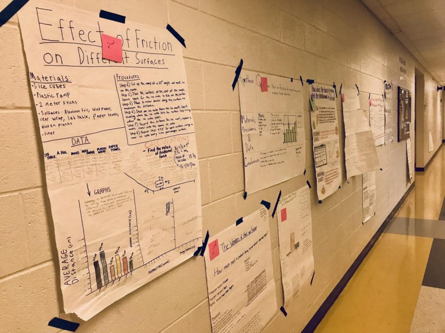Posters+completed+by+Peterson%27s+students%2C+showcasing+their+various+scientific+experiments.+