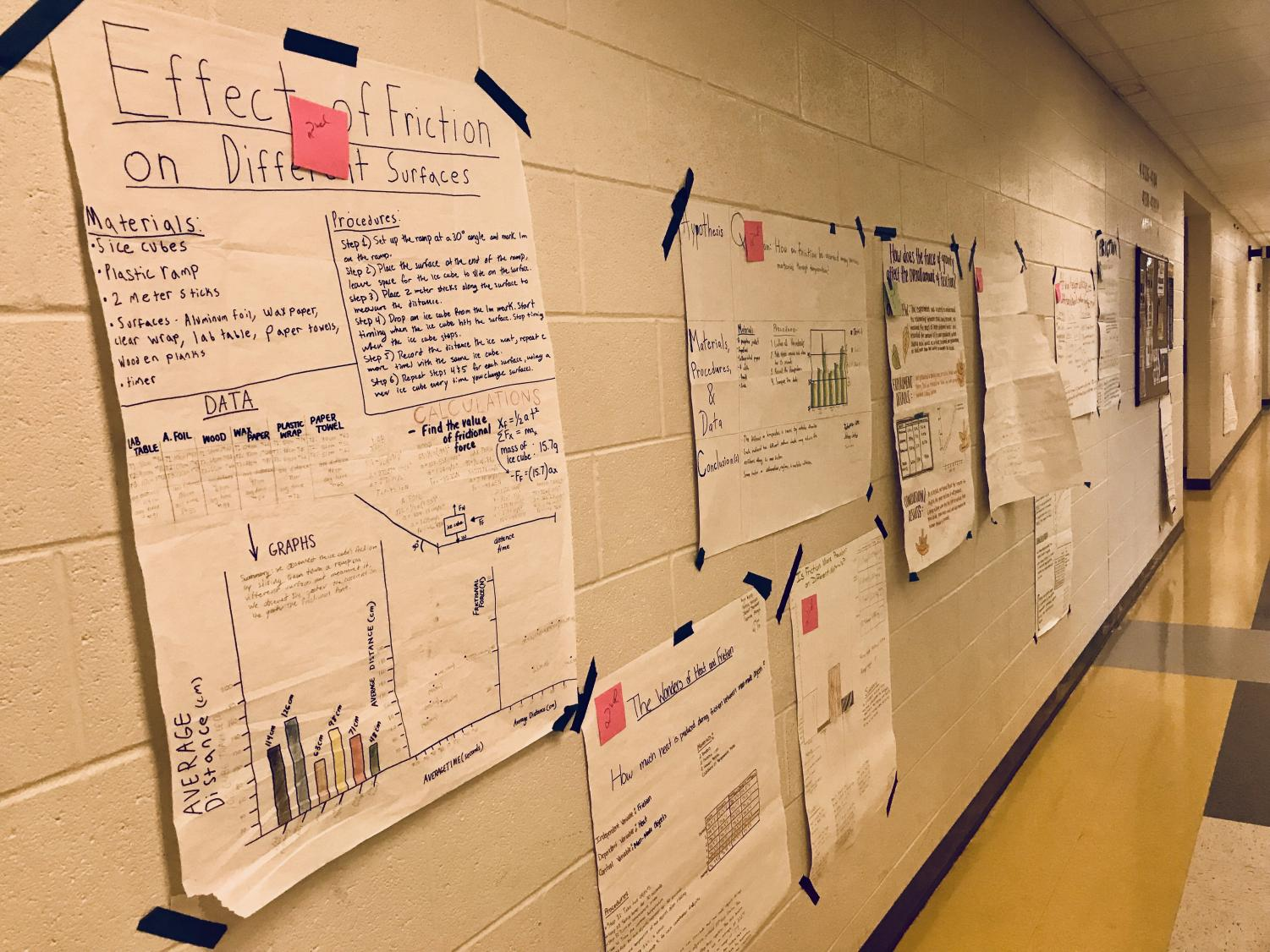 Posters completed by Peterson's students, showcasing their various scientific experiments.