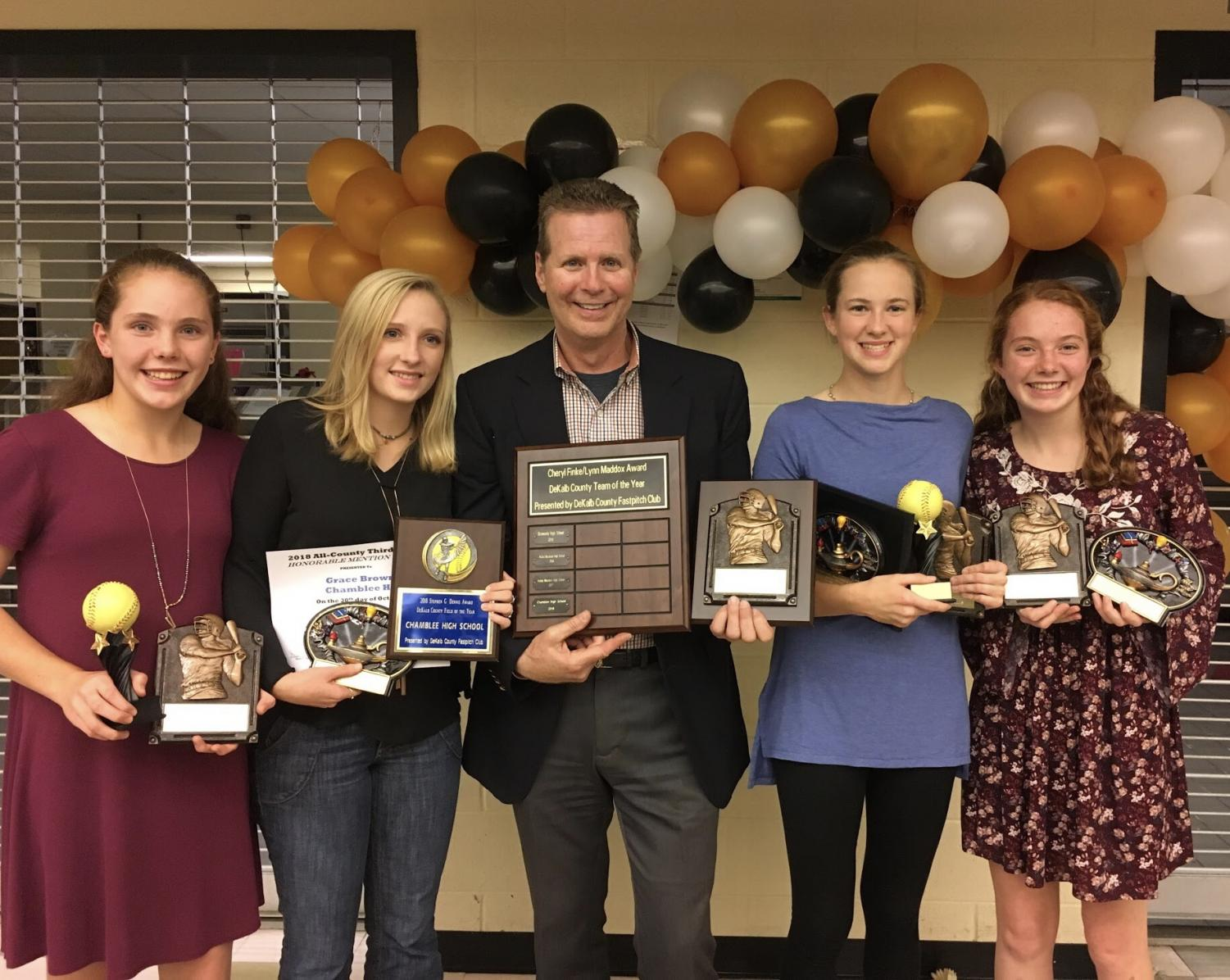 Coach Loper with some of his award winning team after a successful season.