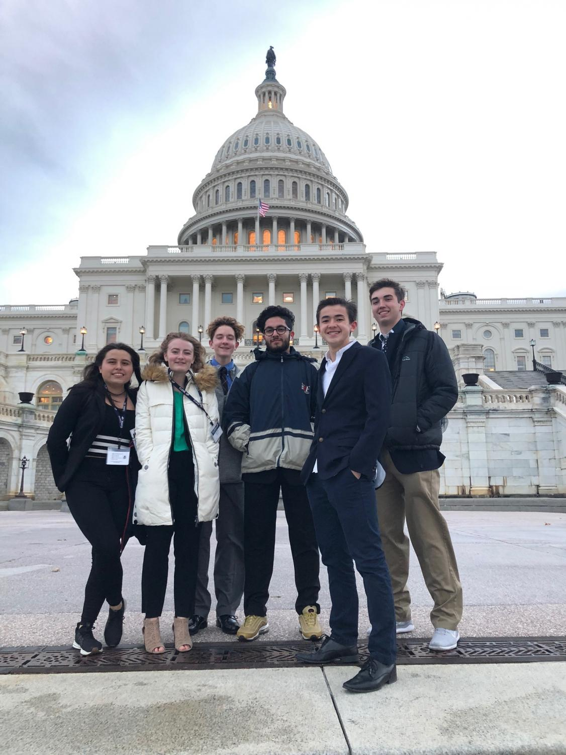 From left to right: CCHS students Victoria Ordonez, Hattie Carter, Jack Dillon, Sherwin Shirazi, Kieran Ferguson, and Brandon Lambert in front of the Capitol building in Washington, D.C.