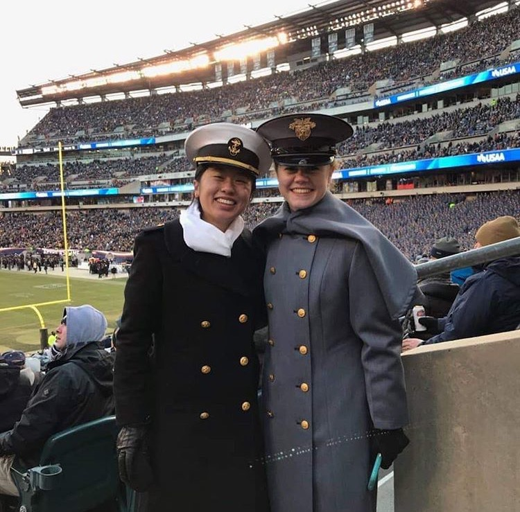 Paris Williams and Beining Xiao at the annual Army v. Navy football game