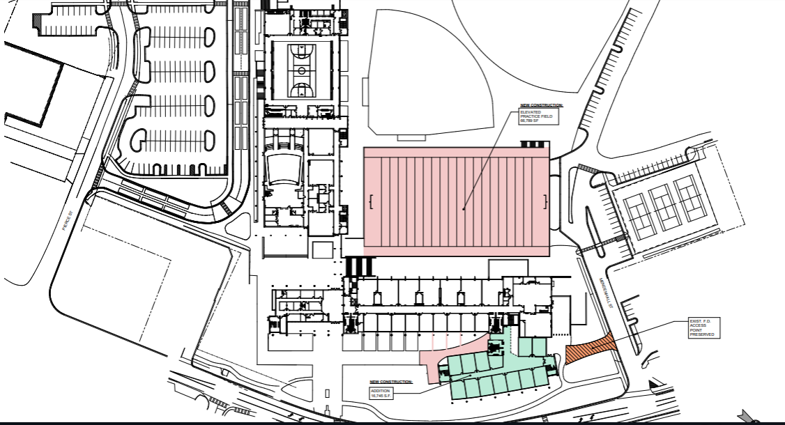 A layout of the planned construction, with the parking deck in the back in red and the classroom addition in green.