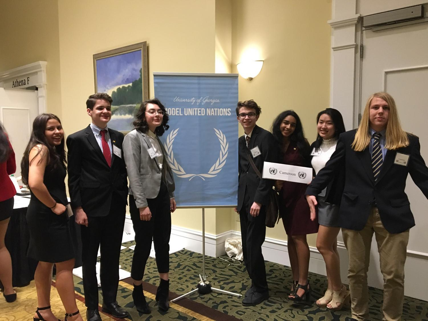 Chamblee students attending Model UN. (Left to right: Victoria Ordonez, Foster Cowan, Ashley Veazey, Carson Ankeny, Shrika Madivanan, Amy Lin, and Nick Markiewicz.)