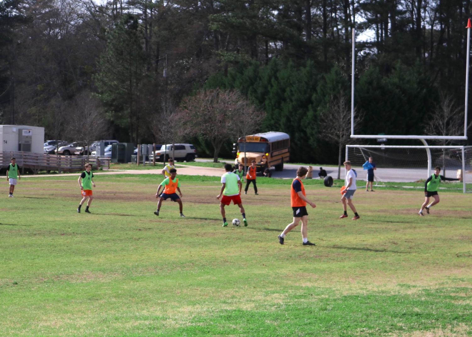 Chamblee soccer players training on the practice field.