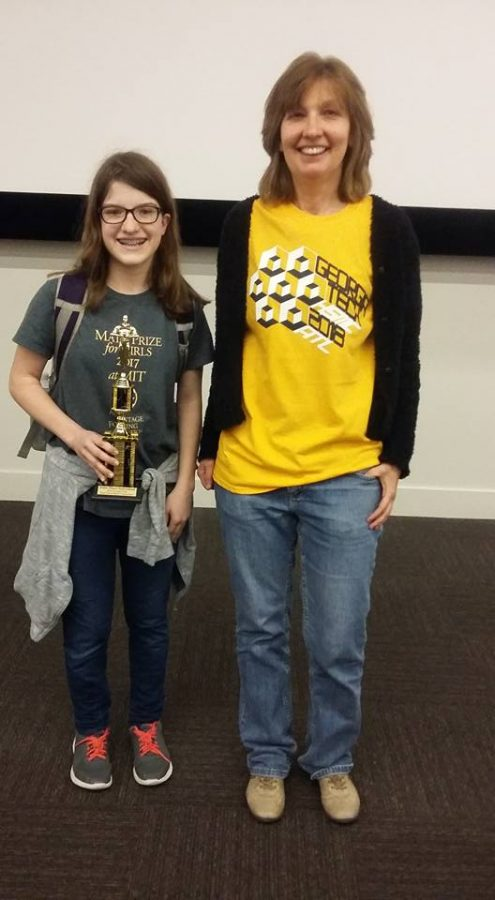 Cossaboom and Dr. Kuske at the Georgia Tech High School Math Competition on March 10, 2018.