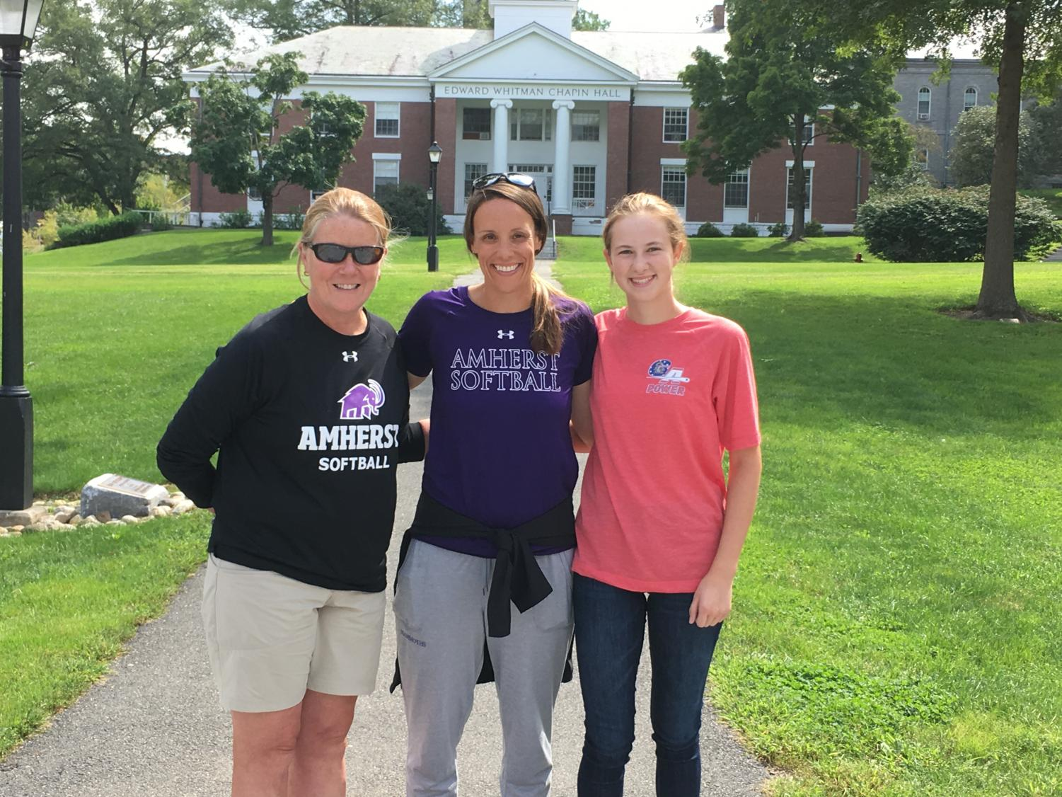 Lovejoy at Amherst with softball Head Coach Jessica Johnson (middle) and Assistant Coach Julie Bolduc (left).