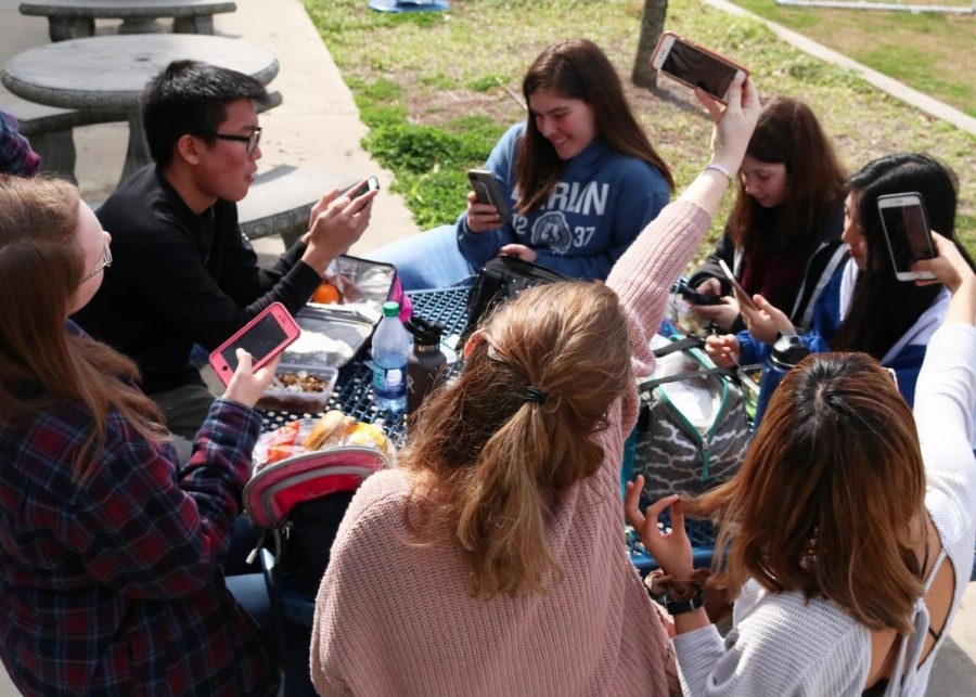 Senior+students+sit+outside+during+lunch+using+their+cell+phones.