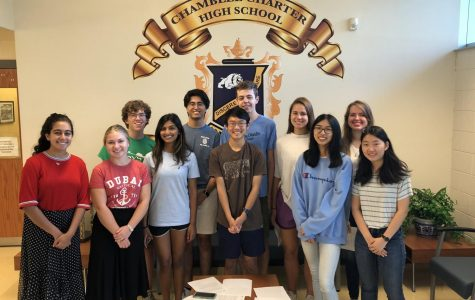 NMSQT Semi-Finalists pose for a picture. (From left to right: Layla Dhabaan, Emily Adams, Hudson McGaughey, Ritu Reddy, Anish Jaisinghani, Connor Lin, Drew Council, Debbie Kitzler, Shanru Xu, Brenna Turner, Rachel Choi)