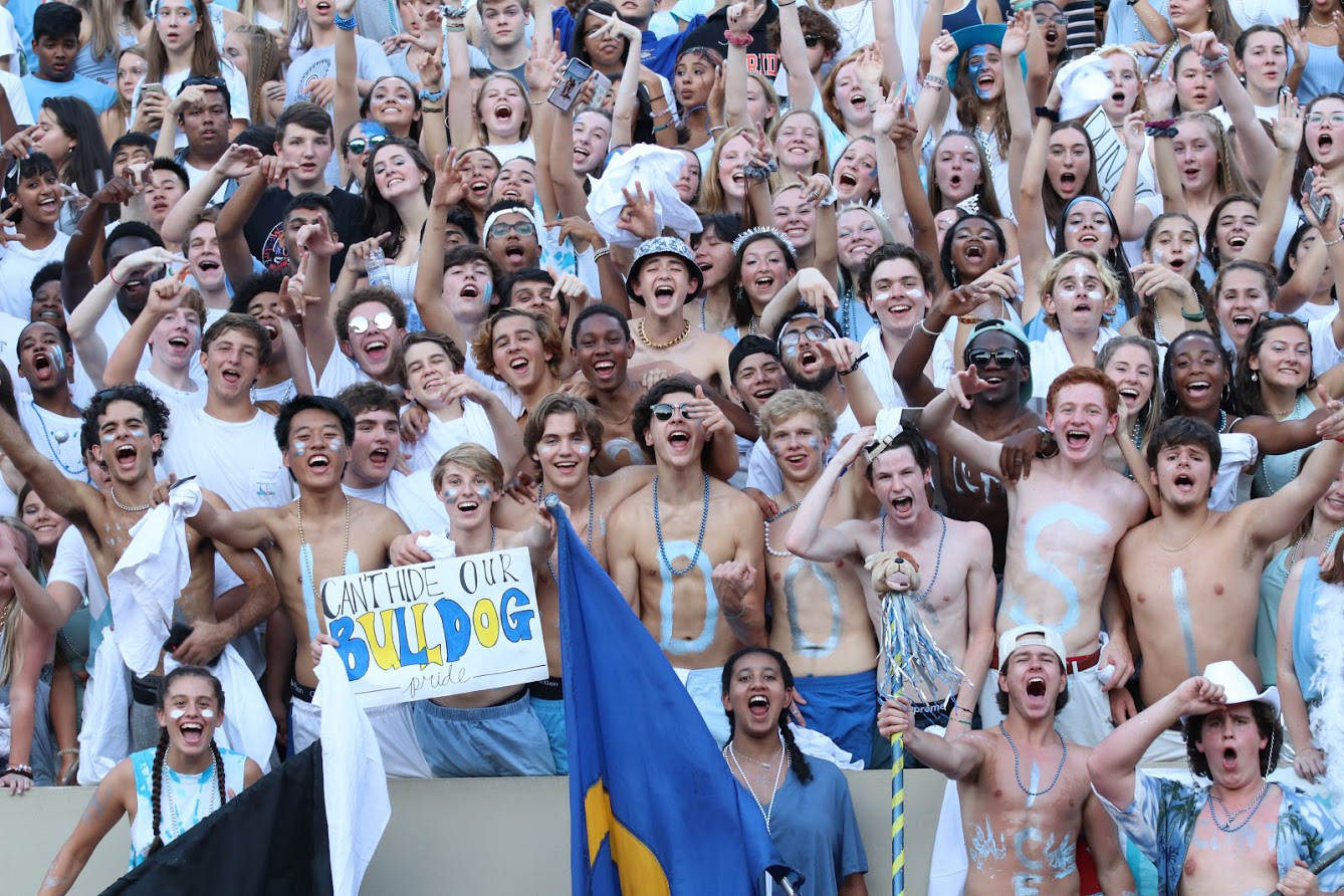 The Chamblee Student Section gets excited at Friday's game.