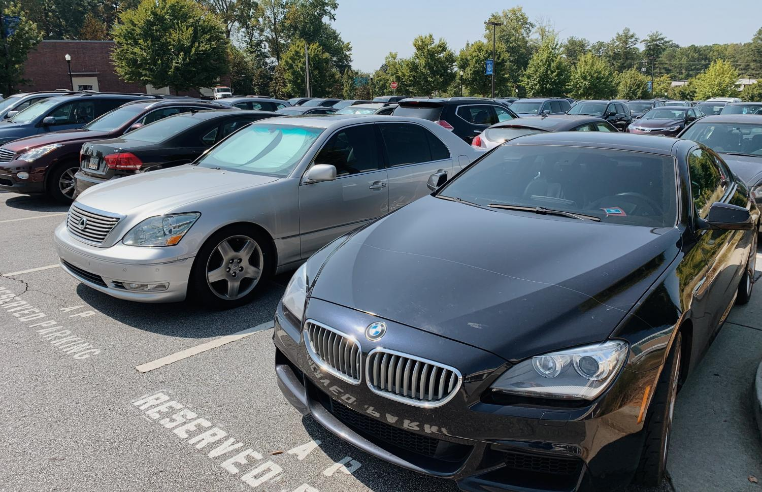 Cars parked in Chamblee's main lot.