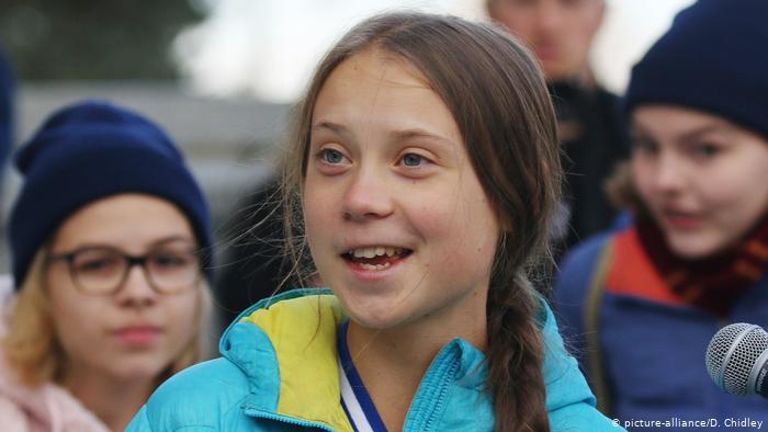 Teen activist Greta Thunberg at a protest in Alberta, Canada.