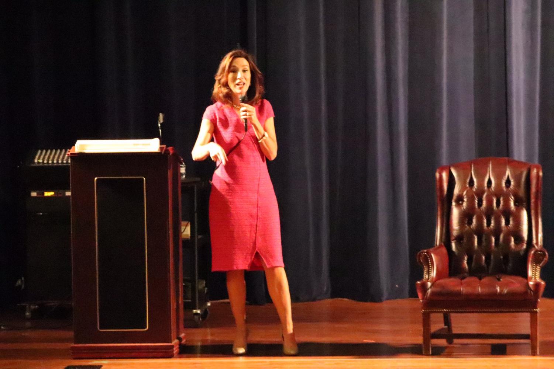 Teresa Tomlinson speaks to  the Chamblee student body.