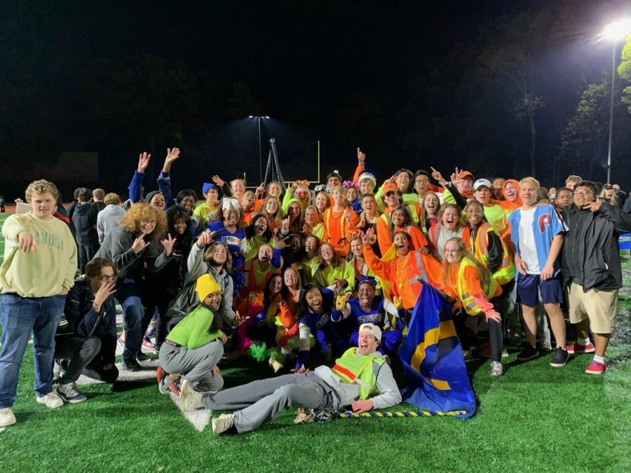 Chamblee students decked out in neon celebrate their first victory in 29 consecutive games.
