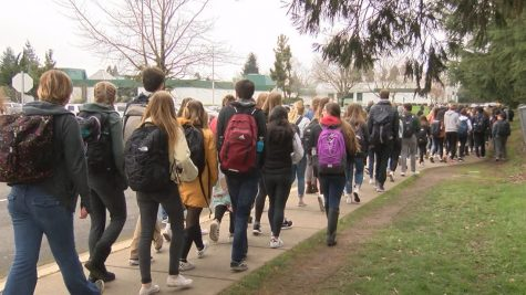 Students walking at Sheldon High School.