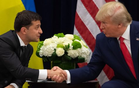 Donald Trump and Volodymyr Zelensky shake hands during a meeting in New York on September 25, 2019, on the sidelines of the United Nations General Assembly.