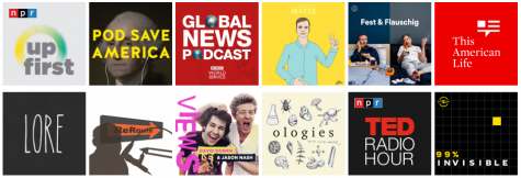 The logos of many of the podcasts mentioned in the article.