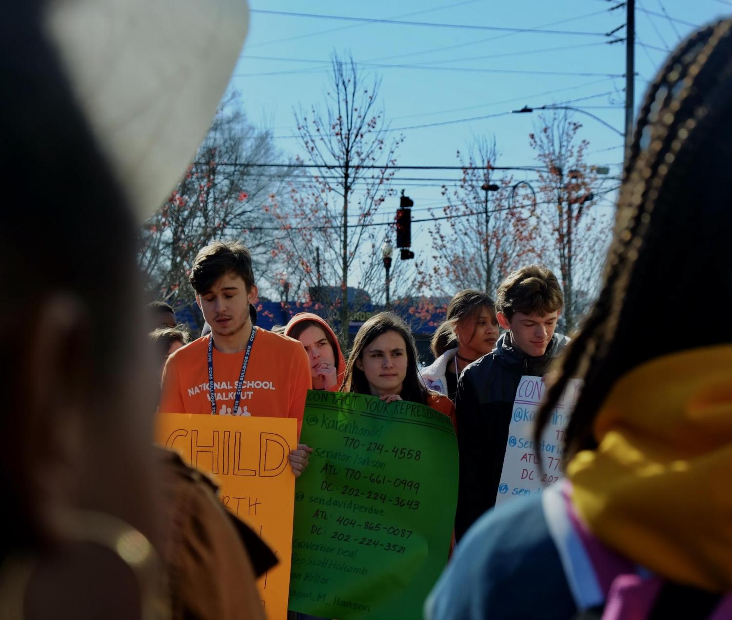 A group of Chamblee students attend a walkout protest.