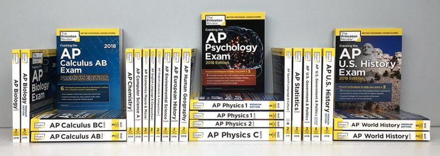 An assortment of AP prep books.
