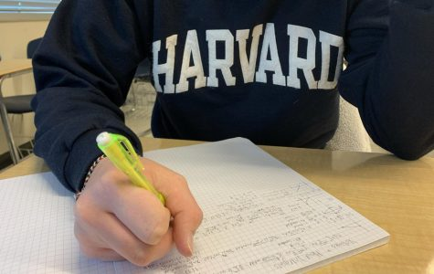 A BC Calculus student working hard on his homework.