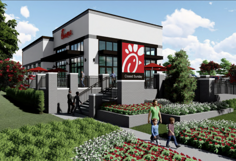 A rendering of the renovated Chamblee Chick-fil-A, scheduled to reopen in 2021.
