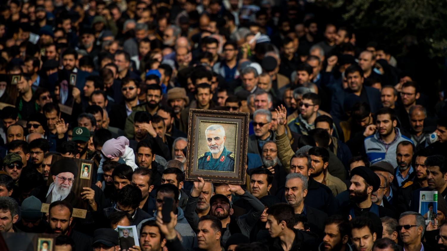 Protesters in Tehran on January 3 after the death of Soleimani.