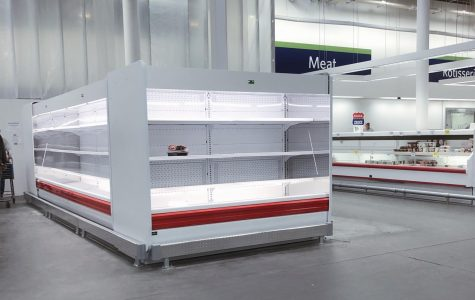 The shelves of Sam's Club, amidst the COVID-19 outbreak, are emptied.