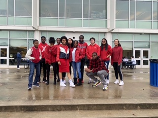 Chamblee's Be.U. members wear red, an important color in the Pan-African flag.