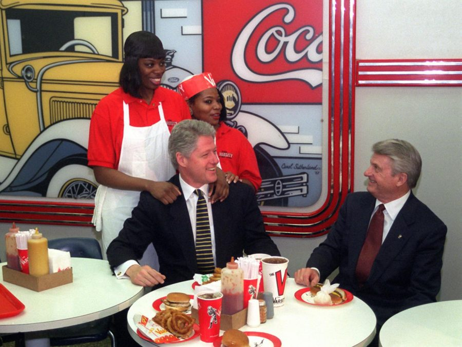 Governor Zell Miller, right, with then-President Bill Clinton, left, at the Varsity