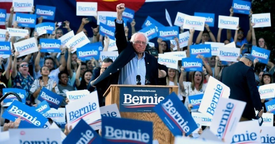 Bernie+Sanders+at+a+lively+campaign+rally+in+Denver+in+September+2019