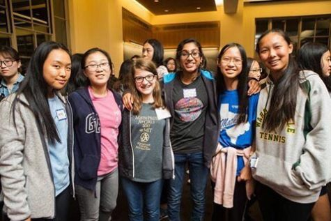 Senior Catherine Cossaboom (third from the left) poses with friends at the Math Prize for Girls competition at the Massachusetts Institute of Technology.