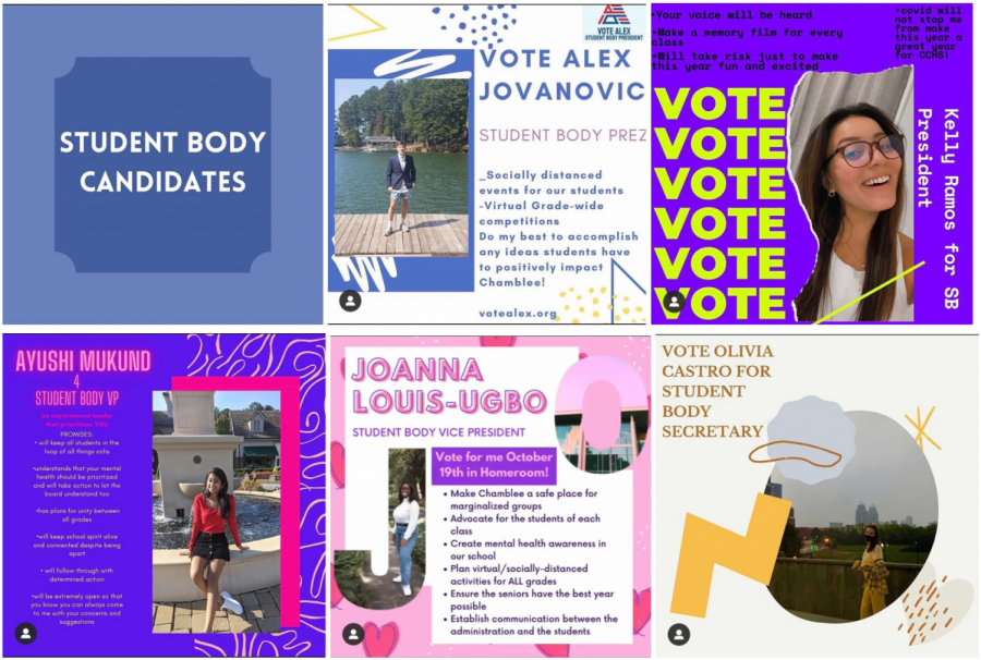A variety of campaign posters from this year's student body candidates.
