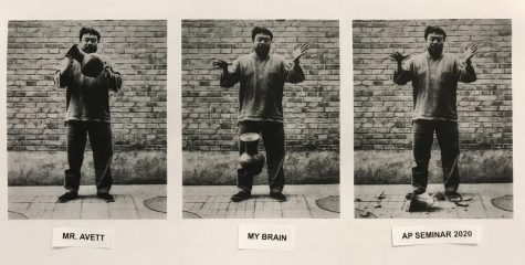 """Unrealized T-shirt design for first period 2019-20 AP Seminar using the 1995 artwork """"Dropping a Han Dynasty Urn"""" by Ai Weiwei"""