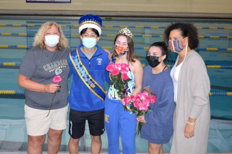 The Spirit Week Royalty pose for a photo. From left to right: health teacher Lorri Reynolds, Spirit Week King Victor Lim, Queen Claire Turney, Runner-up Kelly Ramos, math teacher Mallory Clark.