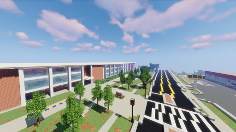 A screenshot of the exterior of the front side of Minecraft Chamblee.