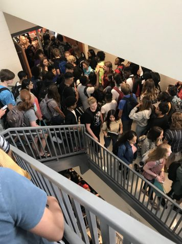 Chamblee students during a class change from the third to fourth floor.