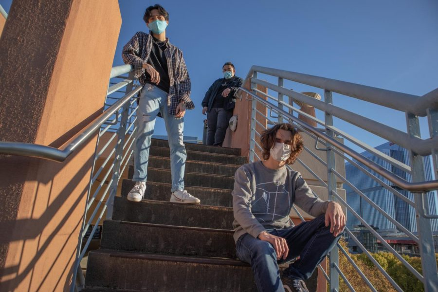 COVID-safe quarantine photoshoot on the steps at Perimeter Mall's parking deck; featuring Nolan Kurtzer ('21), Nic Yen ('21), and Henry Diep ('21)