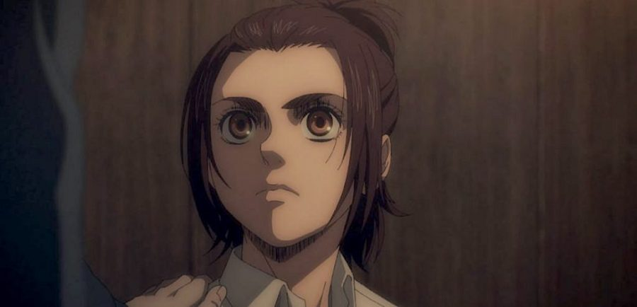 A frame from episode two, season four of Attack on Titan.