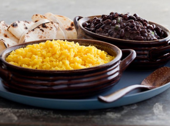 An easy dinner option of yellow rice and black beans.