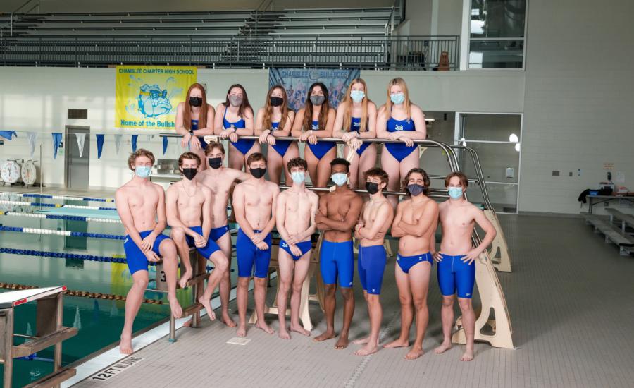 The Bullsharks' senior swimmers pose for the camera.