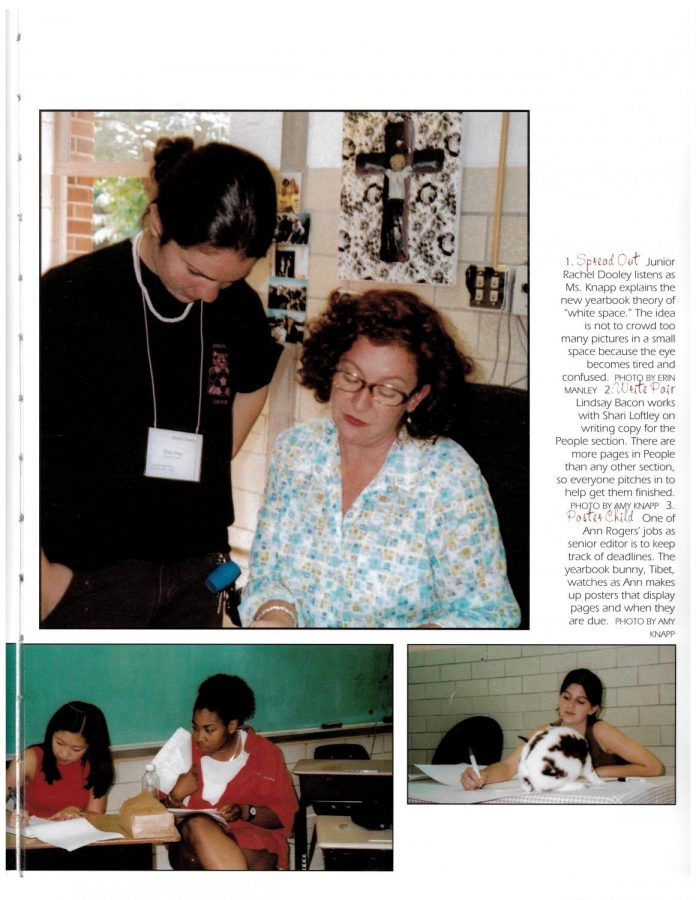 Branca(top, left), explains style choices to a novice yearbook student in 2002.