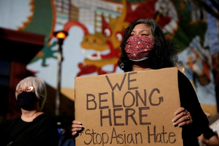 Protesters gather in Seattle to rally against anti-AAPI hate crimes after the Atlanta spa shootings on March 16.