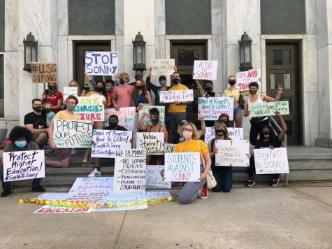 Georgia students protesting in front of the Board of Regents office