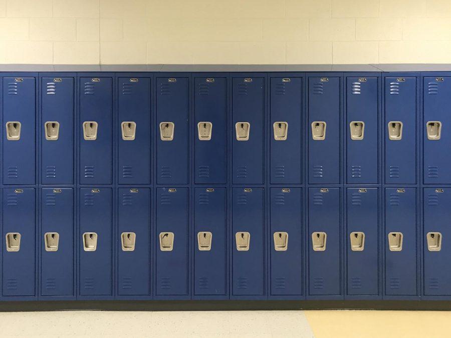 Empty lockers along one of Chamblees hallways
